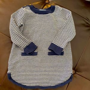 Baby Gap dress blue stripe gold buttons 12-18m